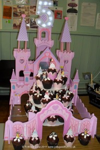 Pirate birthday cakes displayed in pink fairy castle