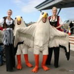 Seagull characters and Stilt Walkers at the Newbiggin Maritime Centre Seaside Day