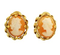 9Carat Yellow Gold Oval Cameo Stud Clip On Earrings ...