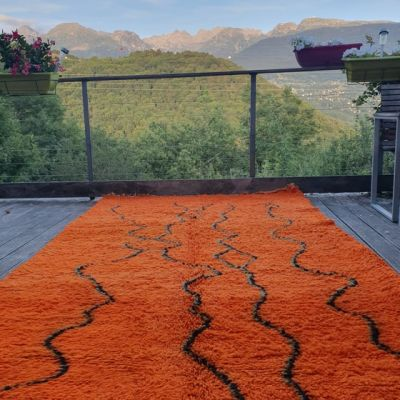 tapis berbère orange en laine