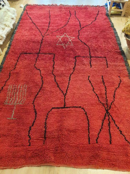 tapis berbère rouge en laine