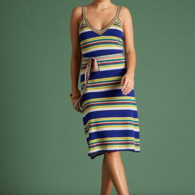robe d'été à bretelles motif rayé