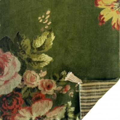 bout de lit velours à fleurs couleur avocat