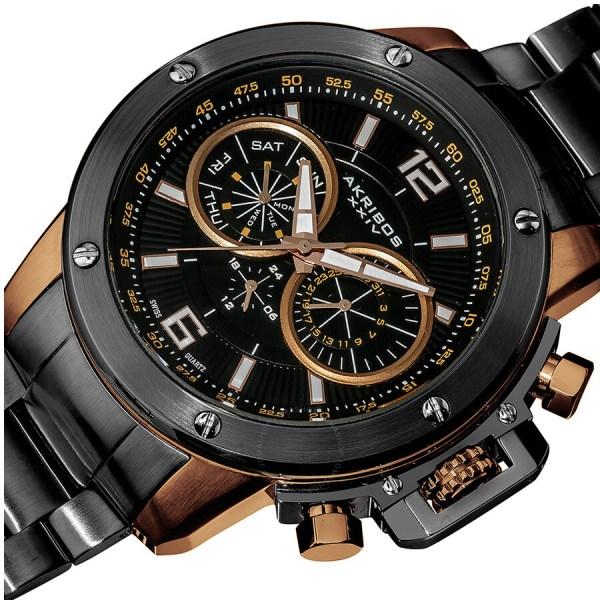 Akribos Xxiv Conqueror Multi-function Steel Swiss Quartz Bracelet Men' Watch Ak604rg