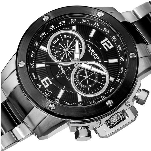 Akribos Xxiv Conqueror Multi-function Steel Swiss Quartz Bracelet Men' Watch Ak604ssb