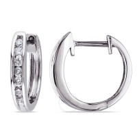 Amour 10 Karat White Gold Diamond Hoop Earrings