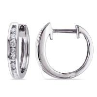 Amour 10 Karat White Gold Diamond Hoop Earrings - Amour ...