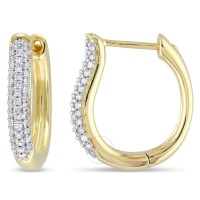 Amour 10 Karat Yellow Gold Hoop Earrings With White