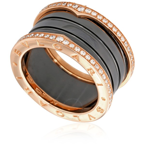 Bvlgari .zero1 18k Pink Gold And Black Ceramic 4-band