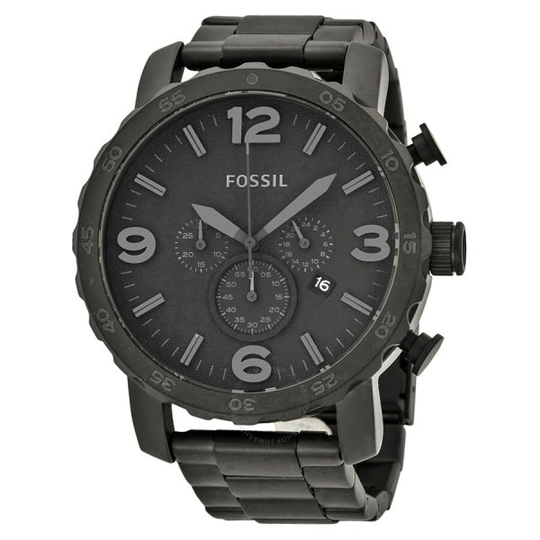 Fossil Nate Chronograph Black Dial Ion-plated Men' Watch Jr1401 - Watches