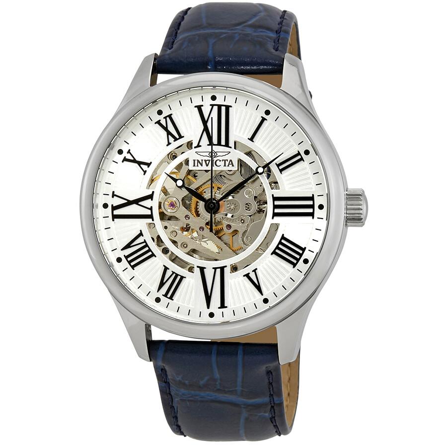 Invicta Vintage Automatic Silver Skeleton Center Dial Men's Watch 23634 - Vintage - Invicta - Watches - Jomashop