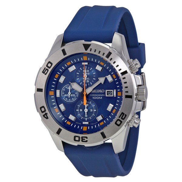 Seiko Blue Dial Chronograph Rubber Men' Watch Snde03