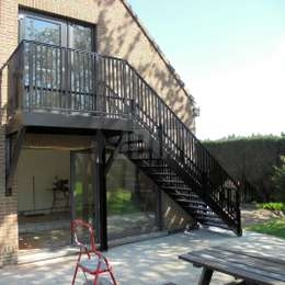 Fire Escape Stairs Jomy | External Metal Fire Escape Stairs | Metal Railings | Stock Photo | Stair Railing | External Spiral Staircase | Fire Safety
