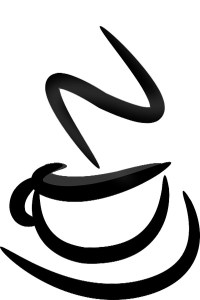 stylized cup of steaming coffee