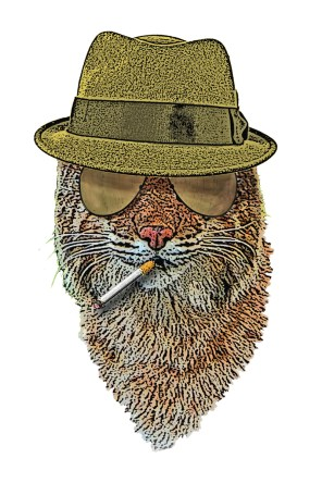 Bobcat wearing a fedora and smoking a cigarette