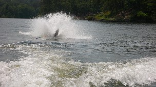 Jared's turn. Here's Jared getting up on one ski to slalom.