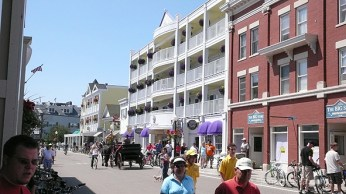This is downtown Mackinac Island. This isn't the area where year-round residents live. This is the area where tourists buy fudge.