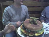 This is the 11lbs burger. This is not the world's largest burger, but it's still big