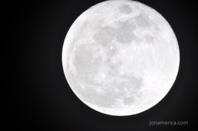 The longer 1/15th exposure time gives a nice, bright (overexposed) moon, and has the most potential for camera shake. - ISO: 200, EXP: 1/15, f/?, Focal Length: 1250mm