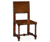 Tudor Style Medium Antique Chestnut Leather Hall Seat Side ...