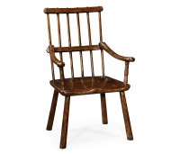 Rustic Dark Oak Country Chair Plank Seat (Arm)