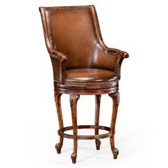 Revolving Chair Bar Stool Yoga Dvd For Seniors Tub Barstool Brown Leather Arm