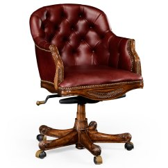 Red Leather Desk Chair French Dining Chairs Brisbane Chesterfield Style Mahogany Office Upholstered In