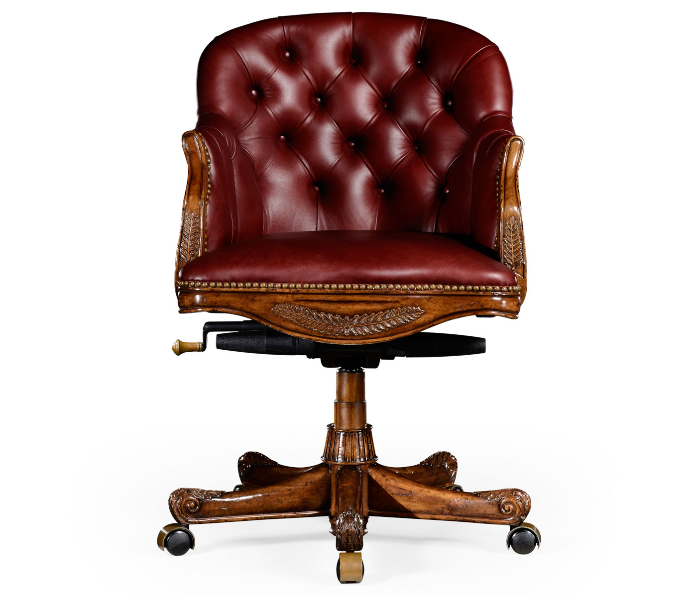 red leather desk chair sit stand test chesterfield style mahogany office upholstered in