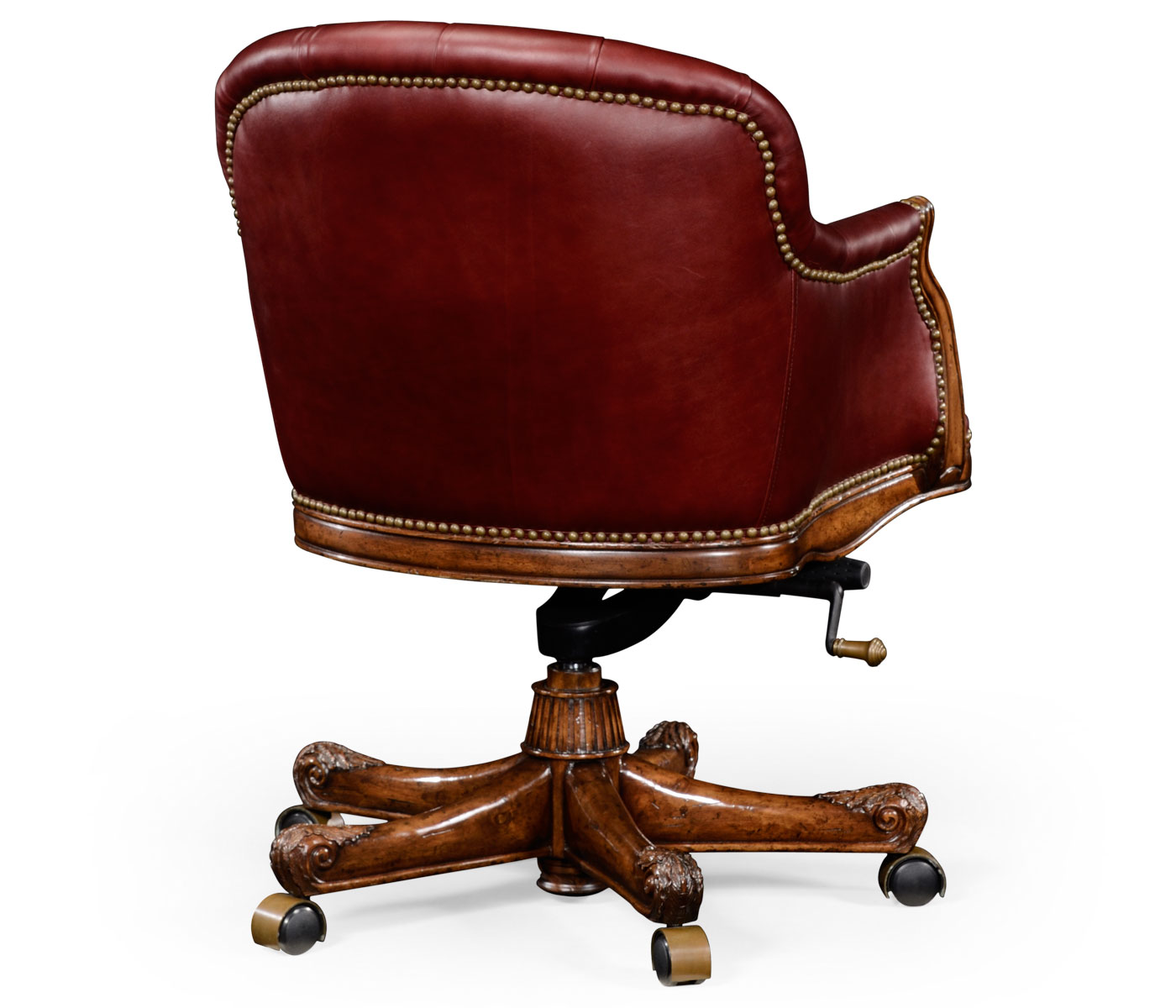 red leather desk chair zero gravity oversized chesterfield style mahogany office upholstered in