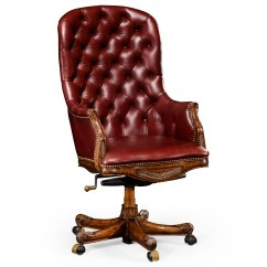 Red Leather Desk Chair Massage Winnipeg Chesterfield Style High Back Mahogany Office