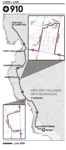 Map of Transcollines Route 910.