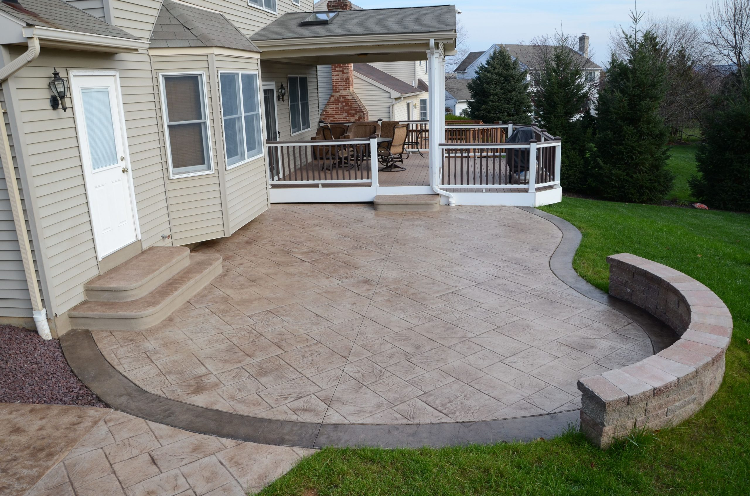 stamped concrete patio ideas with fire