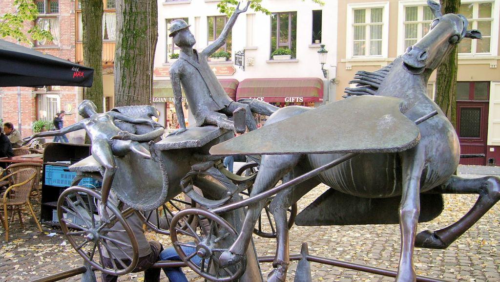 Zeus, Léda, Prométhée et Pégase en visite à Bruges