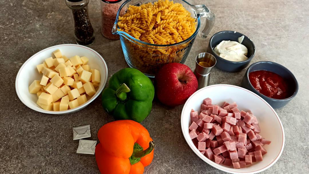 Les indrédients de la salade de pâtes Jonathan Frank