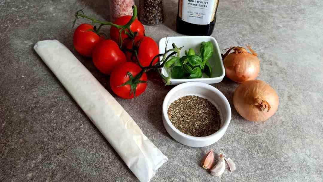 Les ingrédients de la tarte provençale
