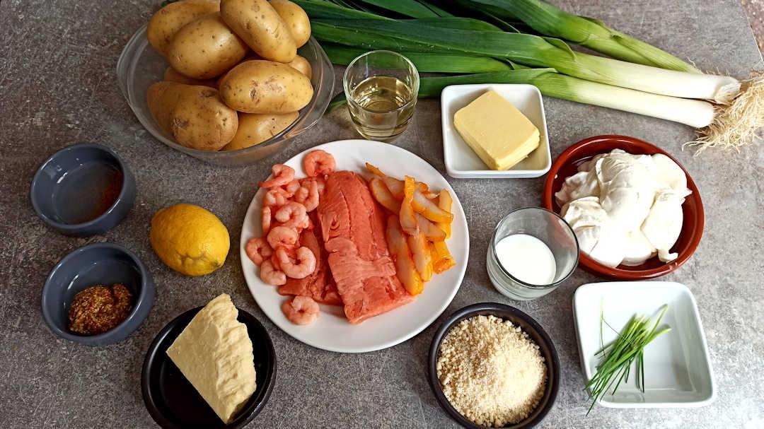 Les ingrédients du parmentier de poisson et poireaux