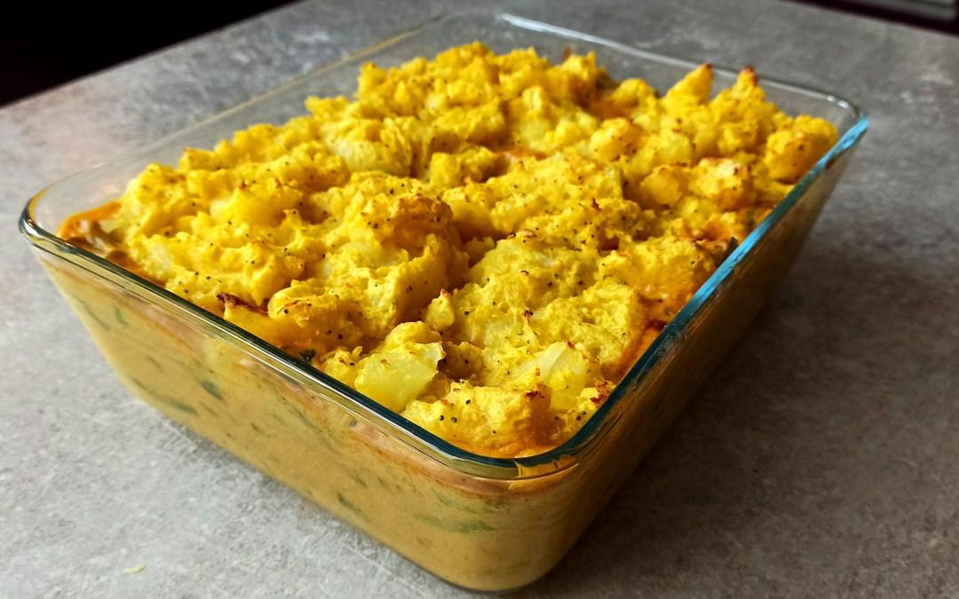Parmentier de crevettes au curry et haricots verts