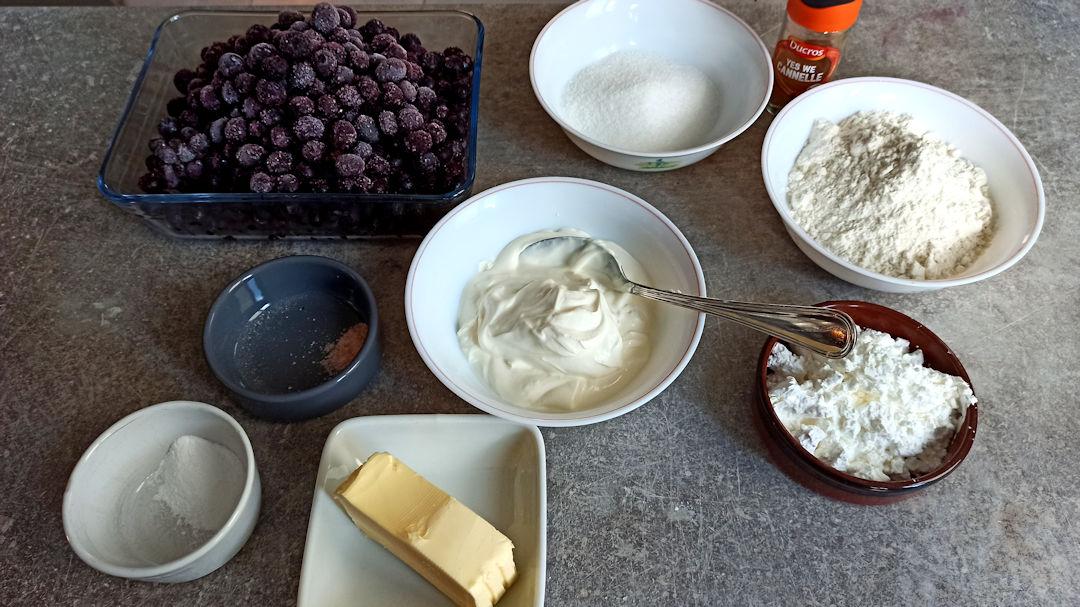 Les ingrédients du blueberry cobbler