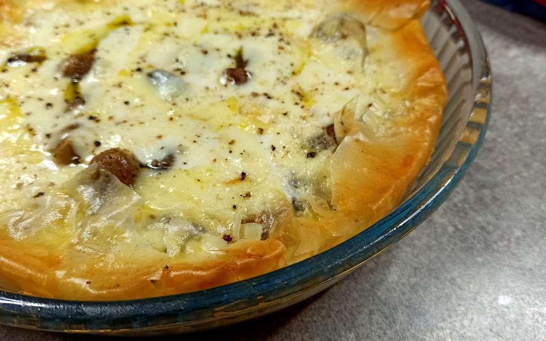 Tarte croustillante à la mozzarella et champignons de Cyril Lignac