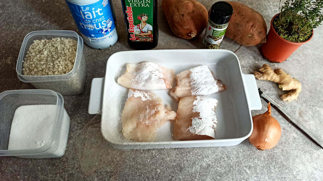 Les ingrédients du dos de cabillaud sauve vanille gingembre