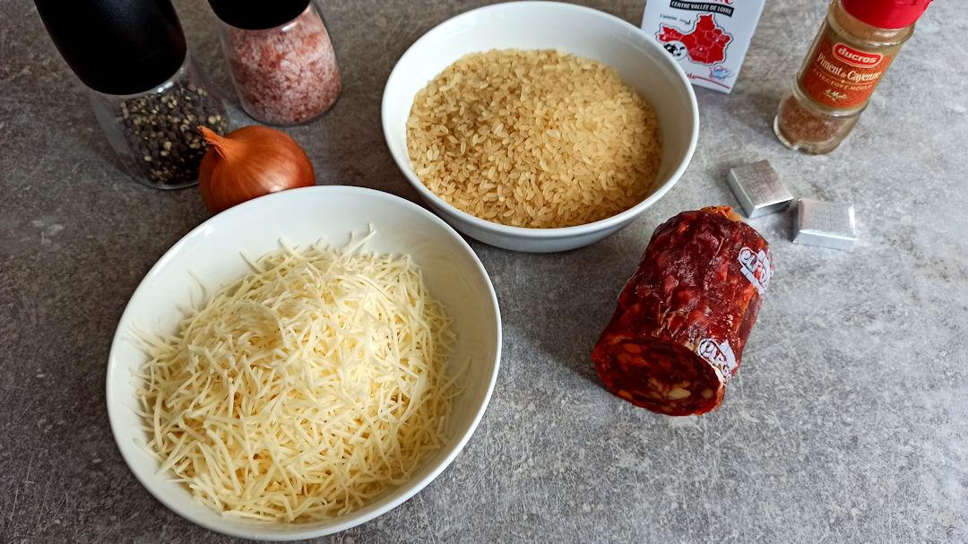 Les ingrédients du risotto au chorizo et au fromage