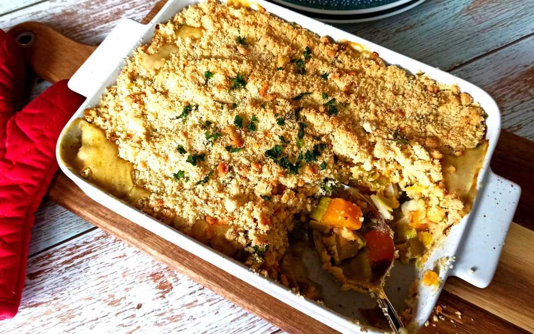 Crumble aux poireaux, courge butternut et persil
