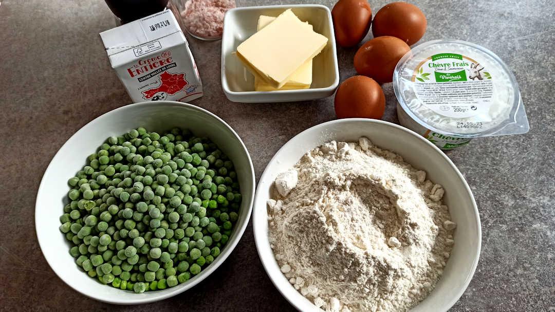 Les ingrédients de la tarte rustique chèvre petits pois