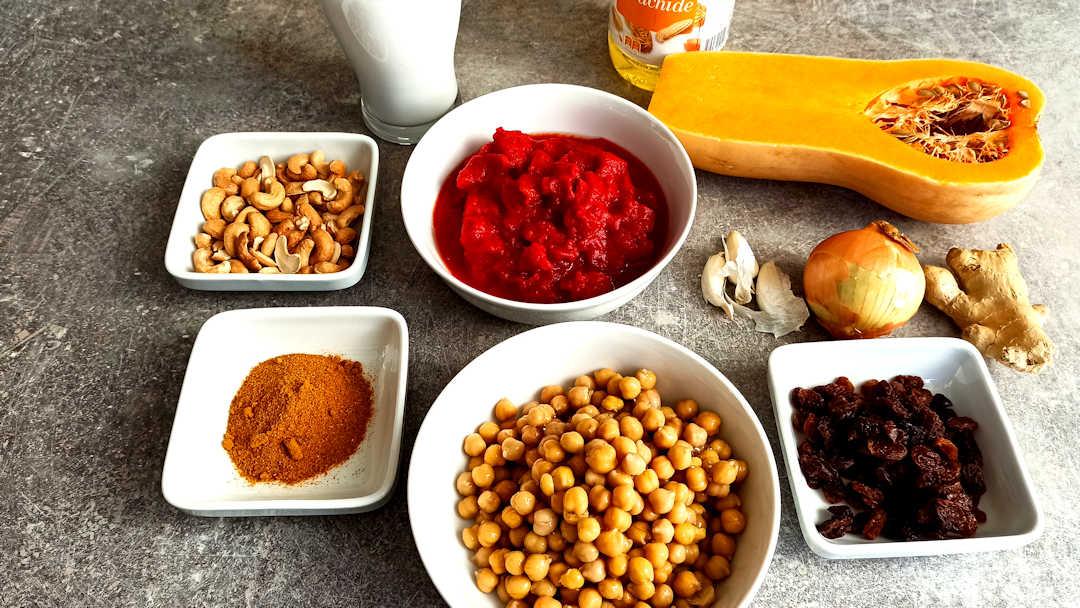 Les ingrédients du curry de butternut
