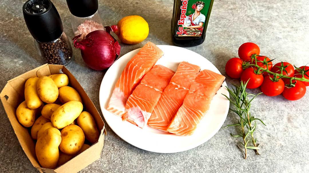 Les ingrédients du traybake saumon pommes de terre