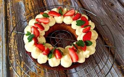Sablé breton crémeux citron et fraises.