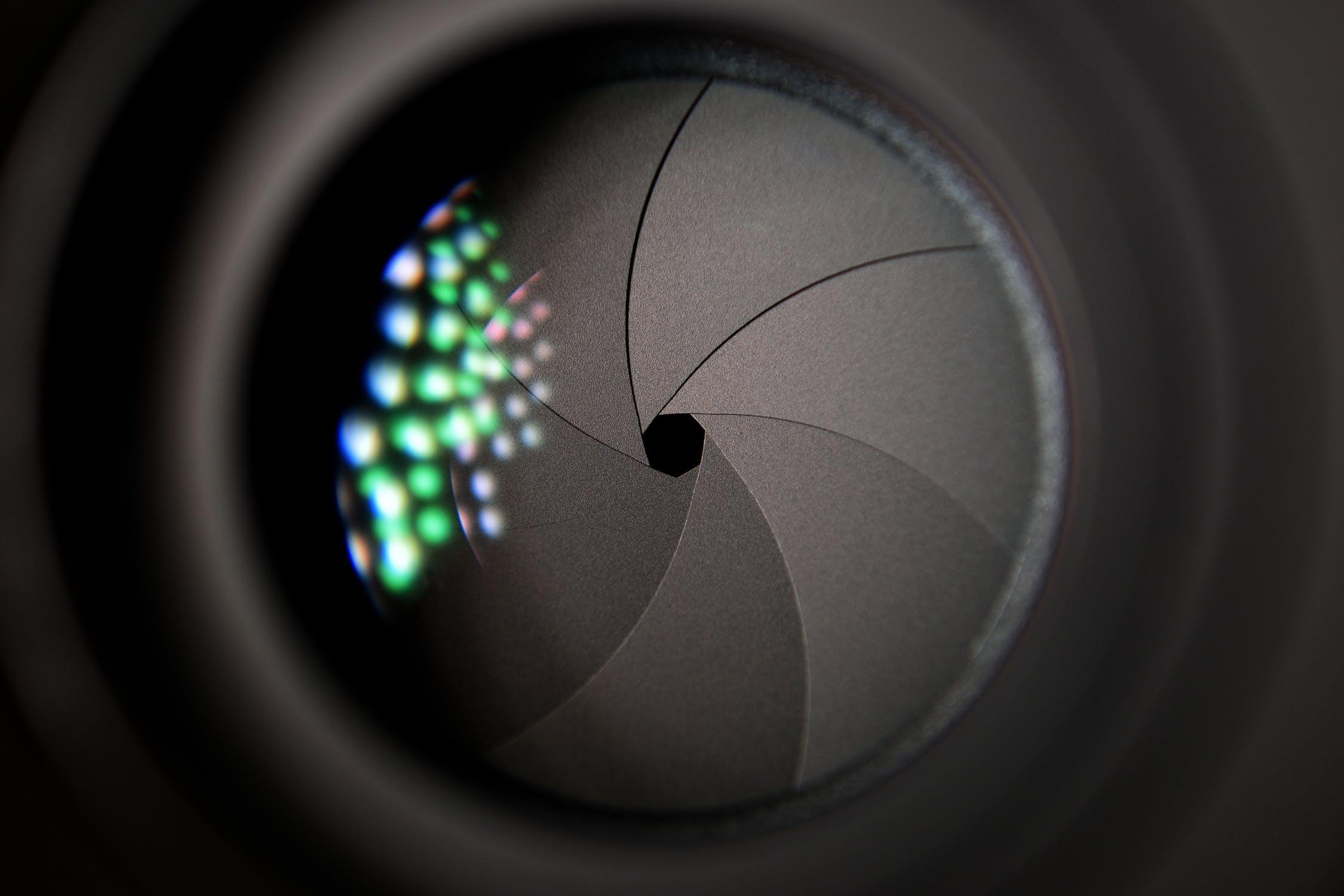 Close-up of a camera shutter