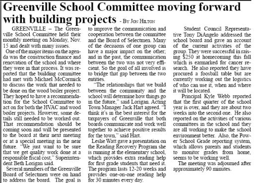 Article by Jon Hilton On Greenville School Committee