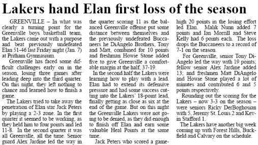 Greenville Boys Basketball vs Elan