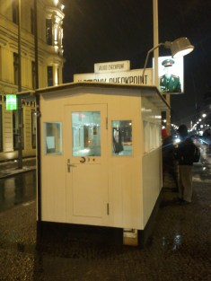 Closeup of the Checkpoint Charlie guard house, from what was the US side.